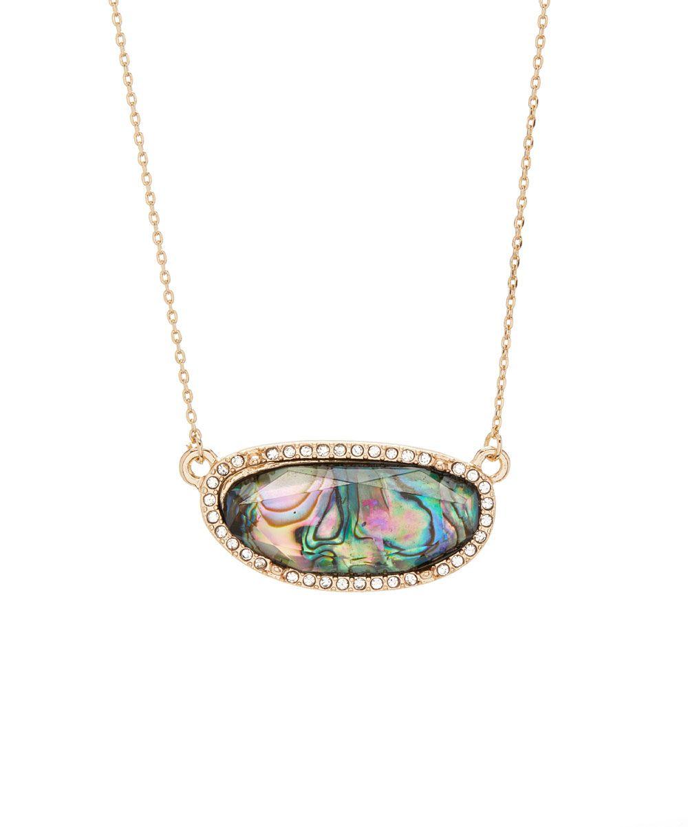 Abalone Acrylic & Goldtone Halo Pendant Necklace