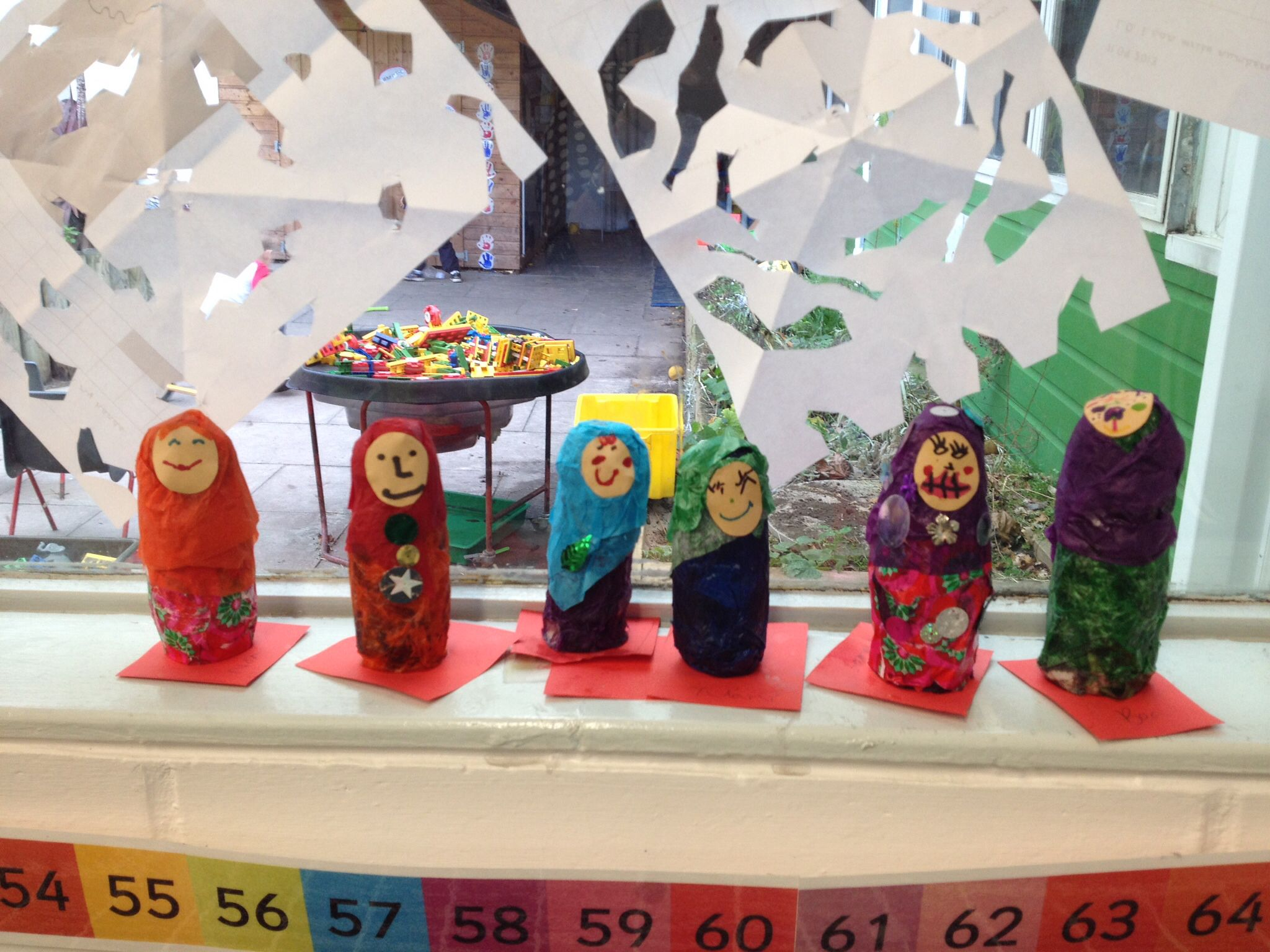 Russian dolls made by Rowan Class. y1 Actimel bottles made the perfect shape to start with.