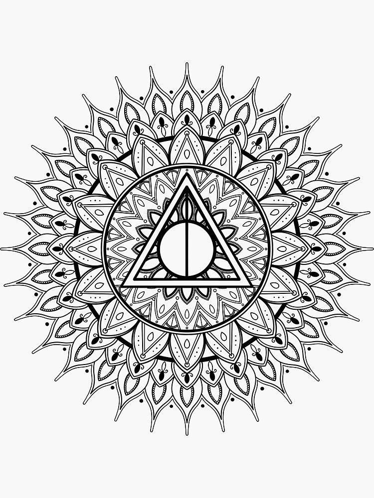 Cloak Wand And Stone Mandala Sticker By Katieharperart Harry Potter Tattoo Unique Wand Tattoo Harry Potter Tattoos