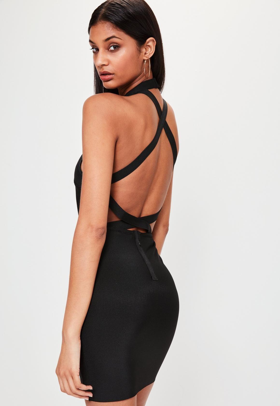 Missguided - Bandage-Kleid mit Träger-Rücken in Schwarz   Dresses ...