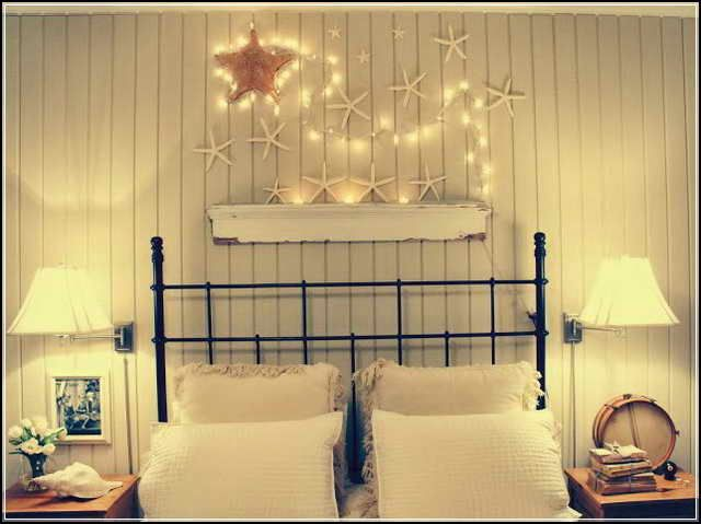 Decorative String Lights For Bedroom With Wooden Wall Image