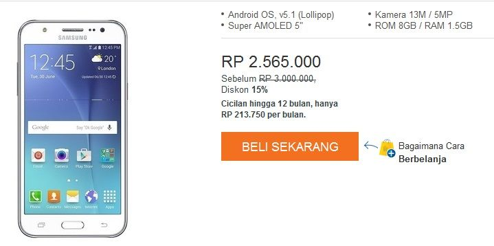 Harga HP Samsung Galaxy J5 Dan J7