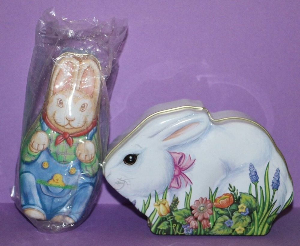 Lot set of 2 easter bunny rabbit tins with covers great for lot set of 2 easter bunny rabbit tins with covers great for hostess gift negle Images
