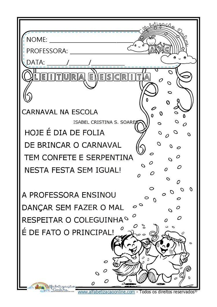 Atividades Sobre Carnaval Para O 1º Ano Alfabetizacao Online Em