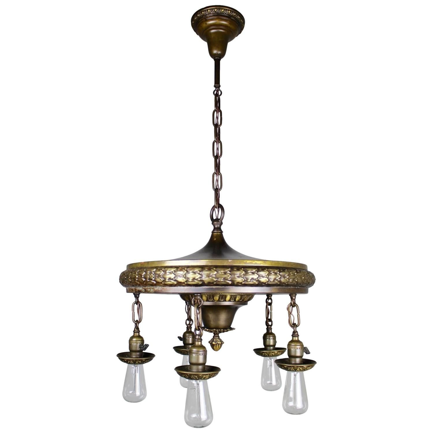 1920s Five Light Neoclical Revival Dining Room Fixture From A Unique Collection Of Antique