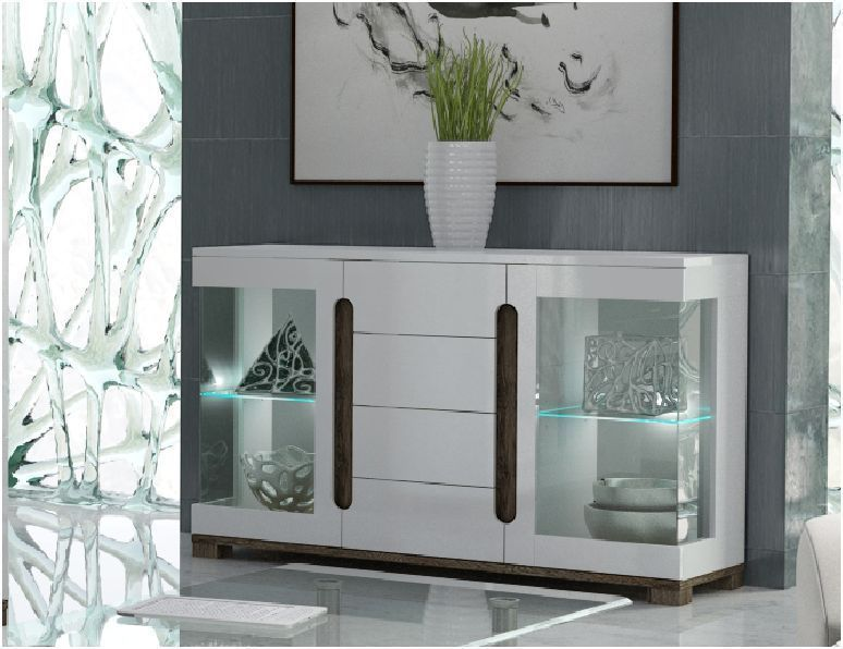 Lorenz High Gloss White Wide Sideboard Glass Door with LED ...