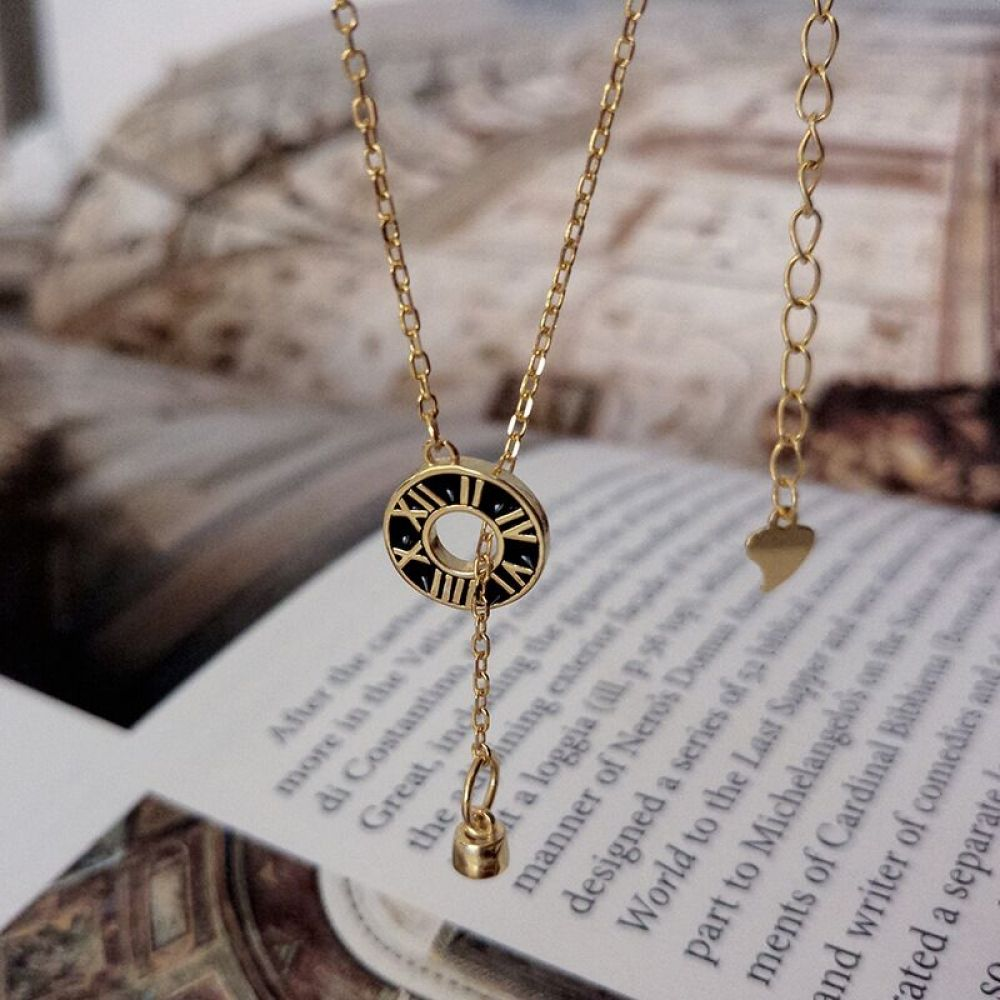 Photo of Popular 925 sterling silver circle pendant roman numerals necklace vintage style golden necklace women fashion jewelry female