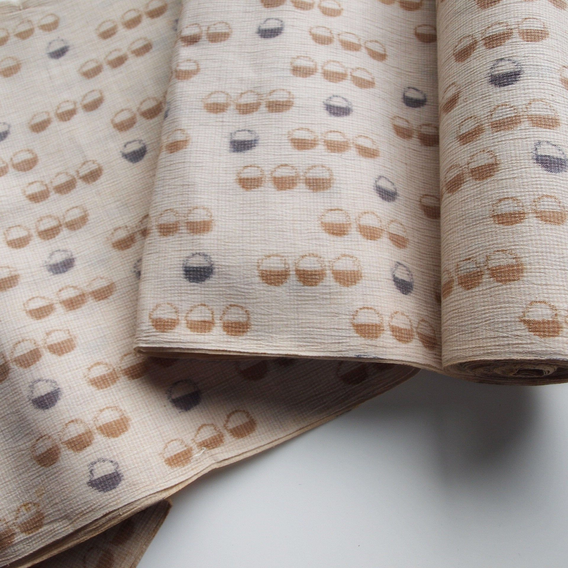 Beige Tones Hemp Fabric Kimono Fabric Fabric By The Yard Etsy