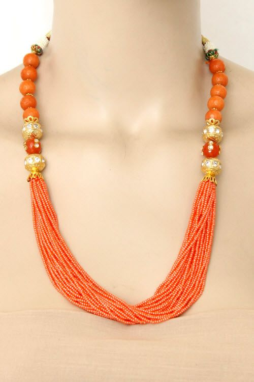 d83a42260c Peach Color Designer 23.5k Gold Plated Moti Mala (Necklace) 12775 ...