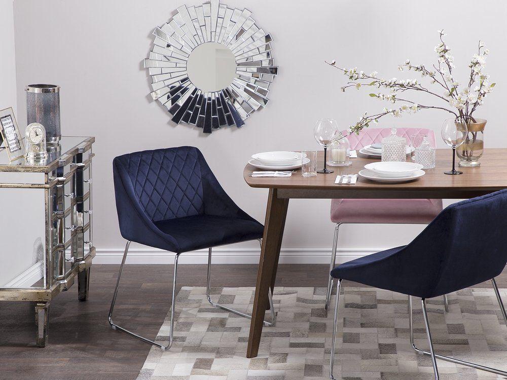 Set Of 2 Velvet Dining Chairs Navy Blue Arcata