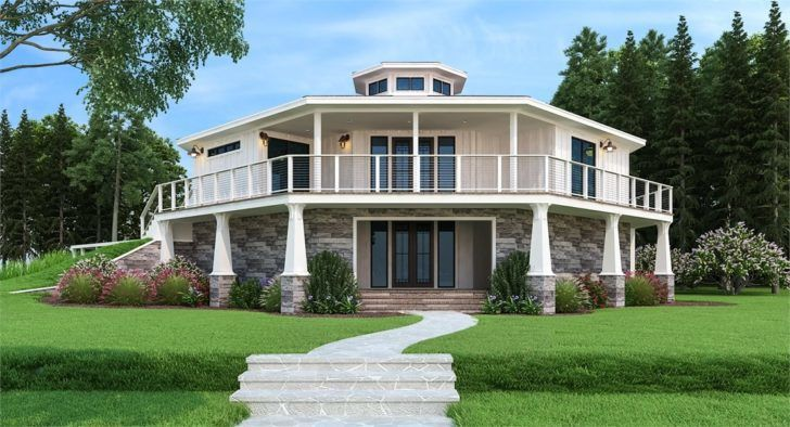 Two Story 3 Bedroom Modern Octagon Style Home with Wraparound Deck Floor Plan