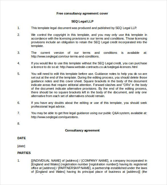 Free Consult Legal Contract Word   Simple Contract Template