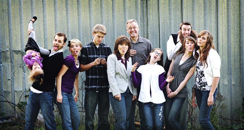 Family Photo BW gray purple...I love fun pics
