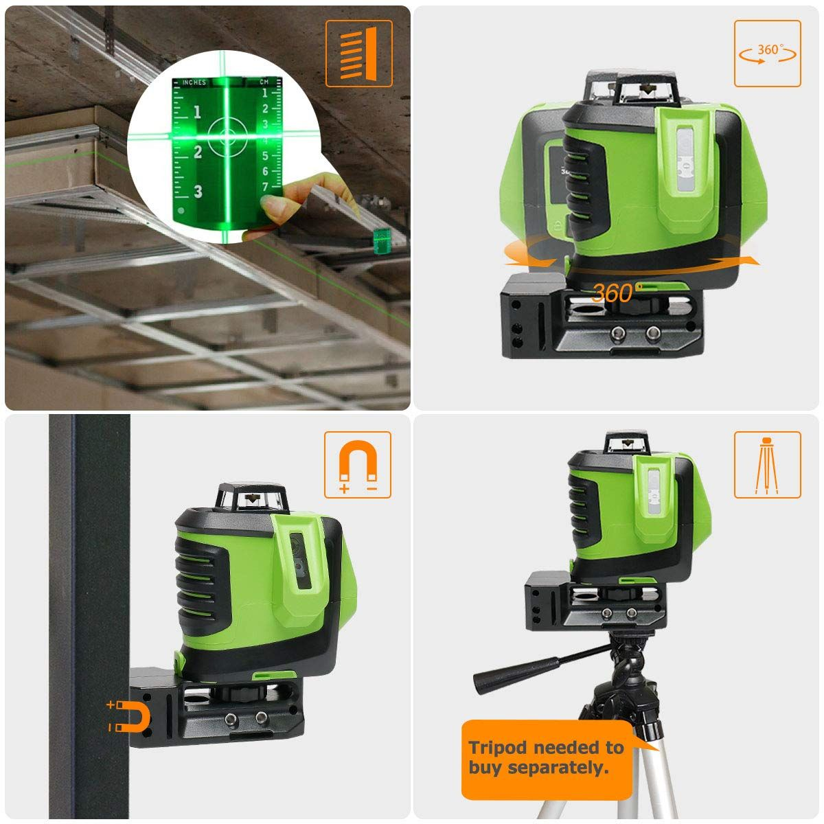 Laser Level Cross Line Laser With Plumb Dot Huepar 622cg Green Beam Laser Level 360 Degree Horizontal And Two Vertical Lines Plu Laser Levels Plumbing Laser