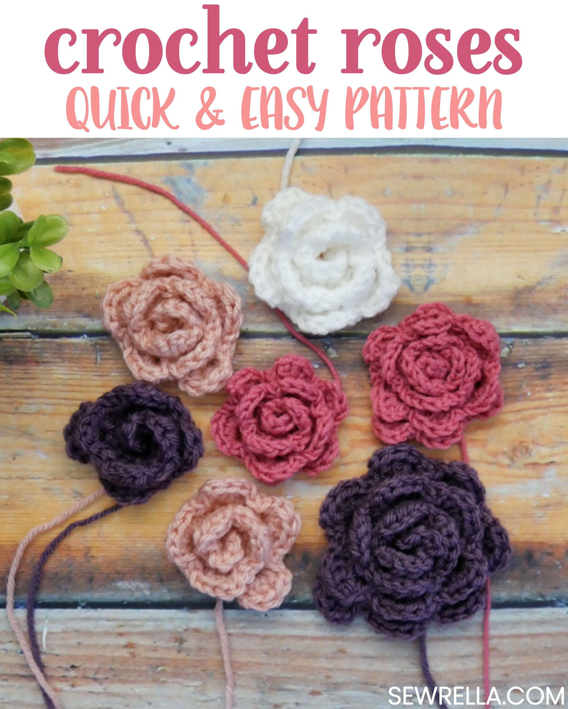 Quick & Easy Crochet Roses | CrochetHolic - HilariaFina | Pinterest ...