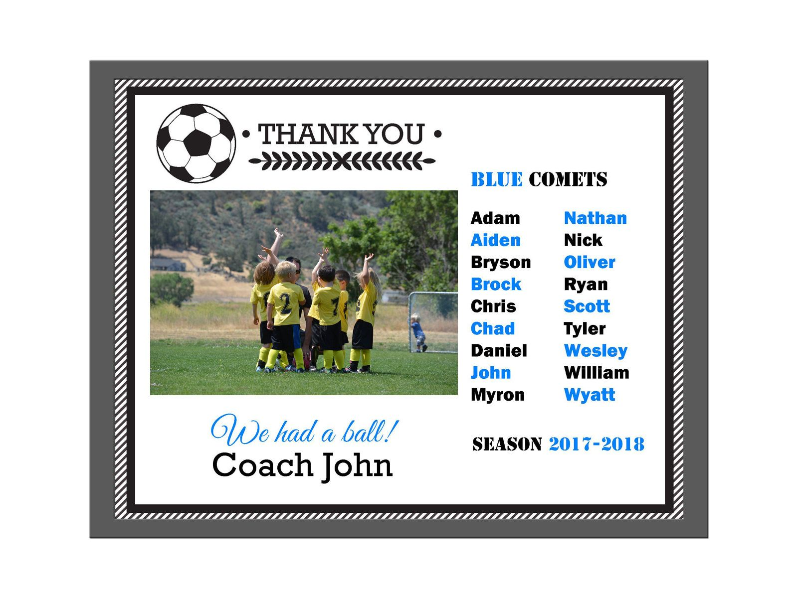 DIY Editable PDF Sports Team Soccer Thank You Coach Certificate Award  Document Frame Template
