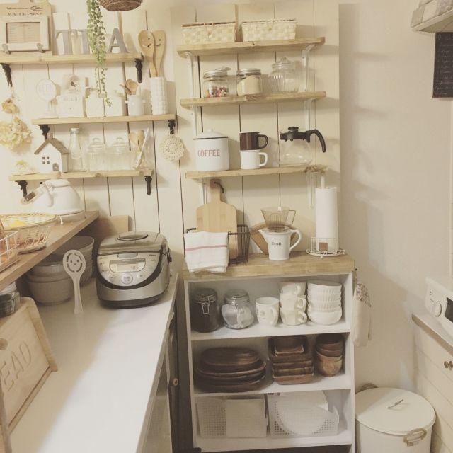 キッチン コーナン マガジンラックを食器棚に 壁面収納 板壁diy など
