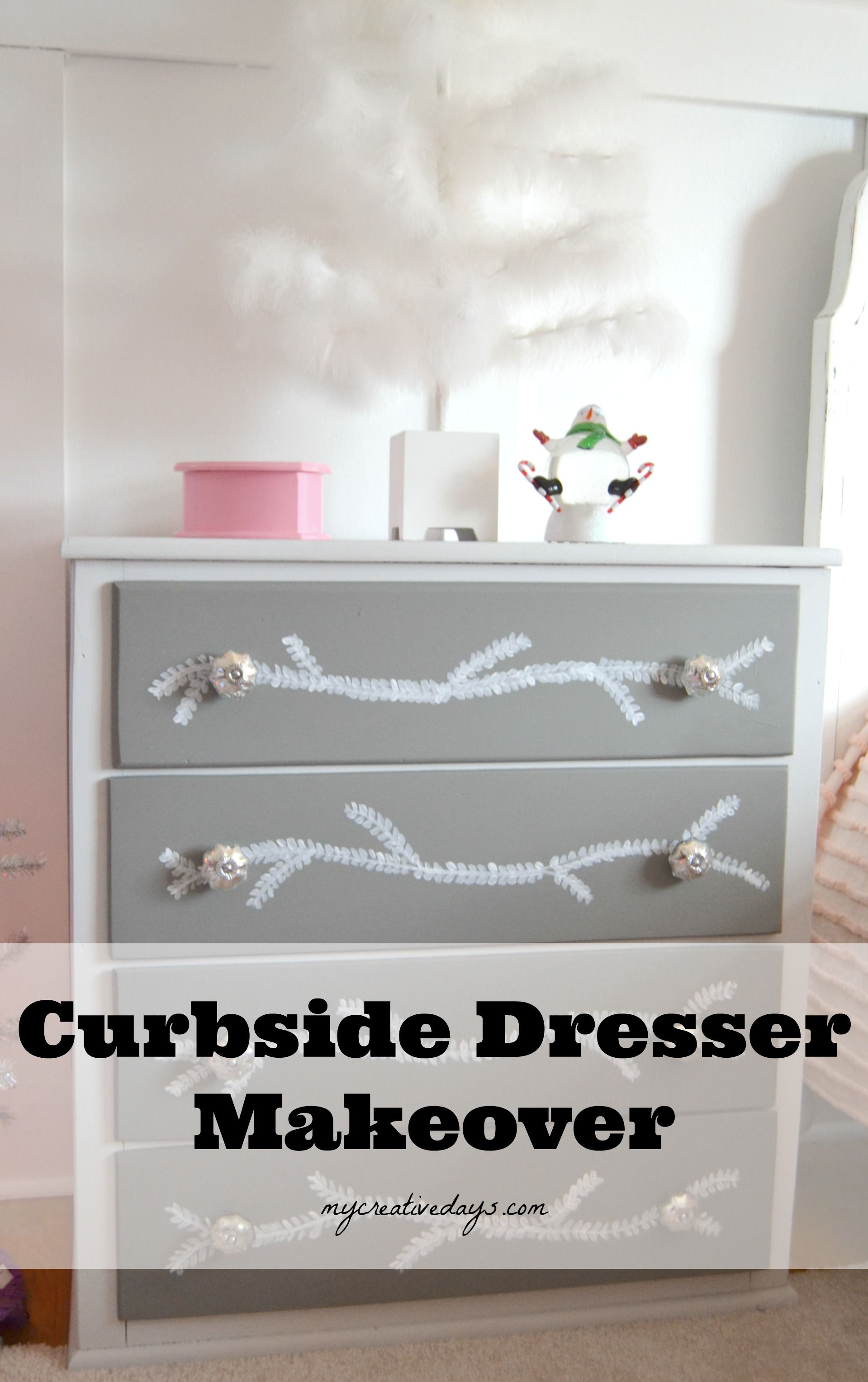 Curbside Dresser Makeover. This curbside dresser has been transformed into a beautiful piece with some paint and new knobs. mycreativedays.com