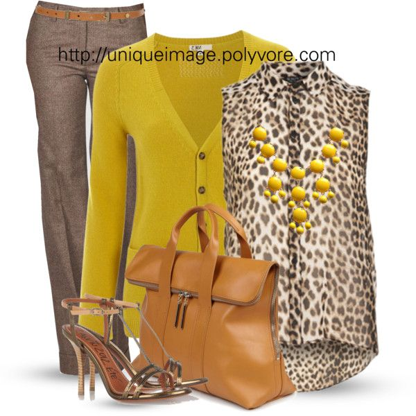"""Brown, Yellow & Leopard"" I am not a fan of animal prints, but I like how the mustard color brings the outfit together, and makes it appropriate for a professional setting."
