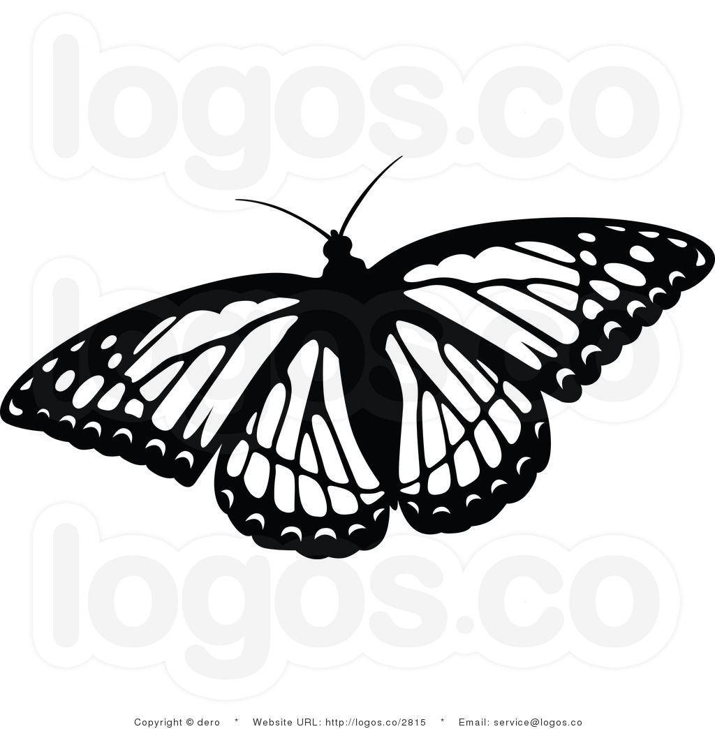 free black and white flying butterfly logo clipart by dero 2815 [ 1024 x 1044 Pixel ]