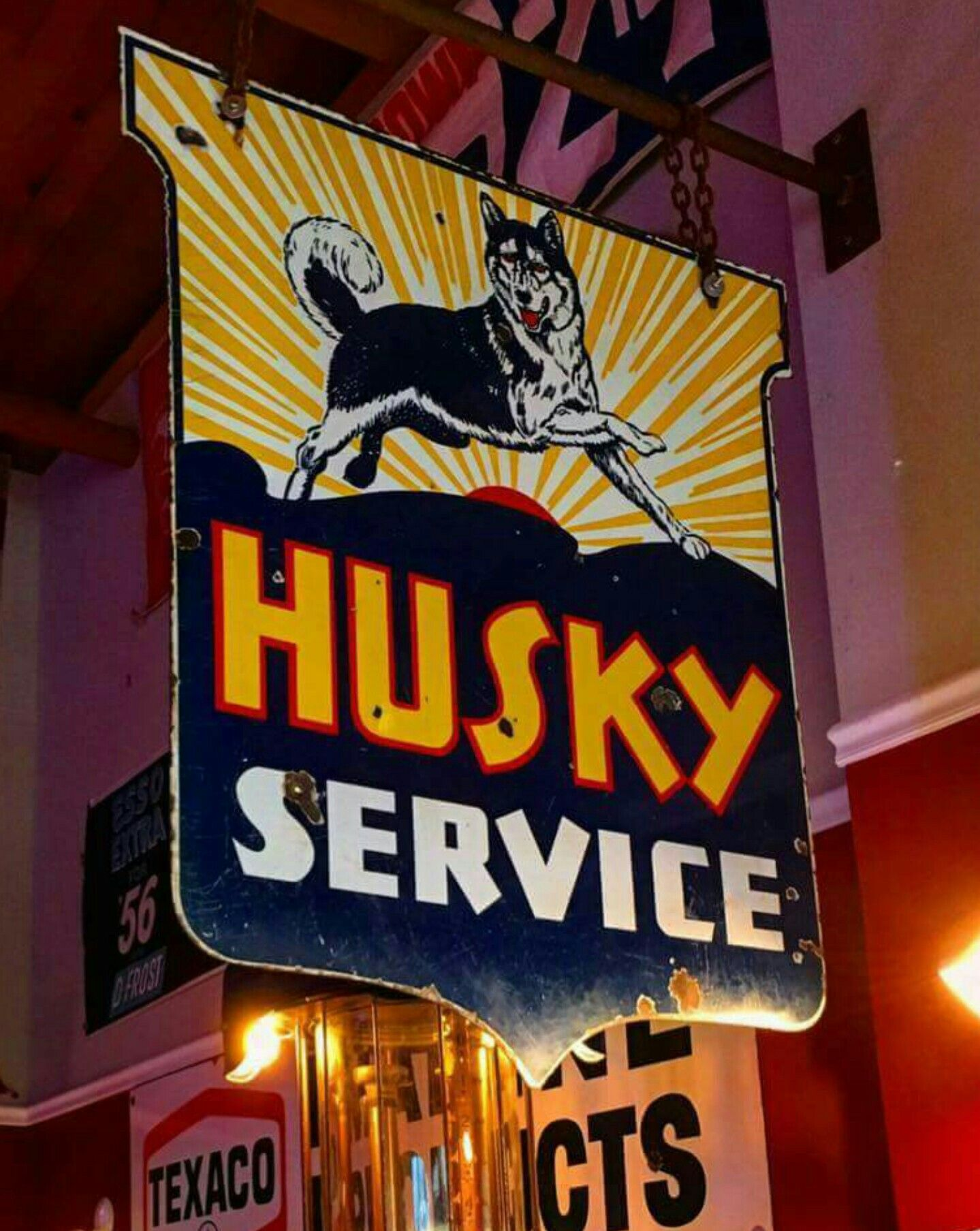 Original Husky Service Station Porcelain Sign Vintage