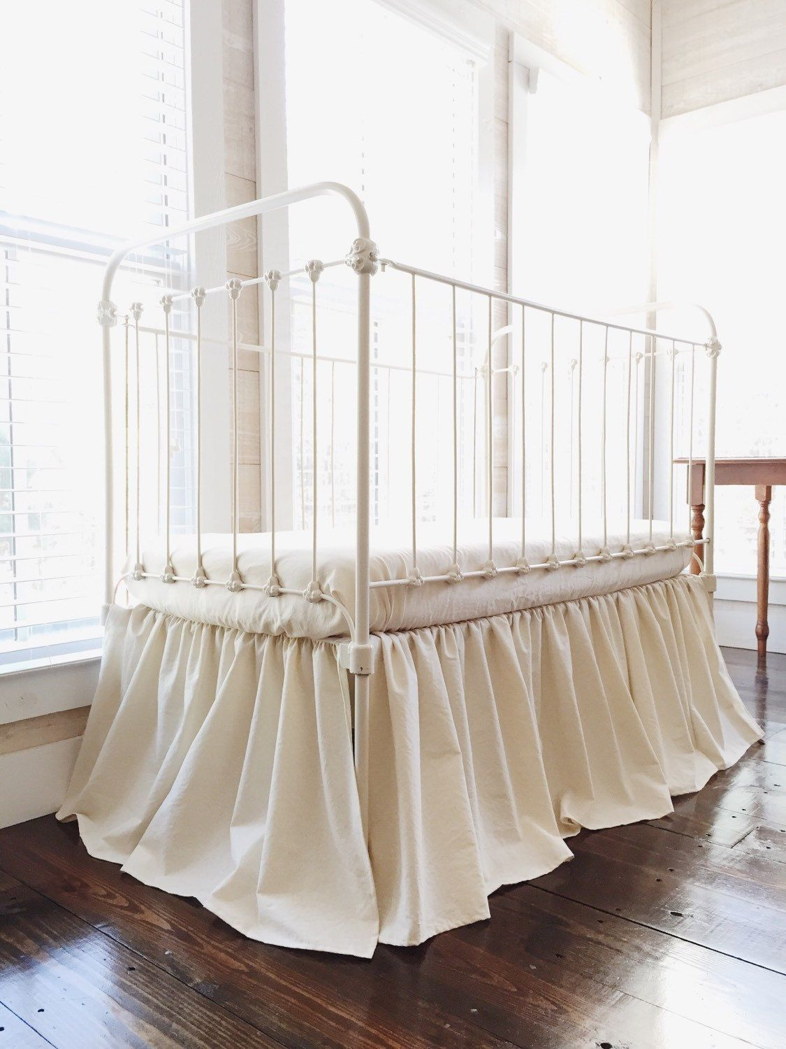 Natural Crib Skirt Neutral Crib Skirt Farmhouse Crib Skirt Baby Bed Skirt Solid Crib Skirt Cotton Crib Skirt Plain Baby Crib Skirt Crib Bedding Boy Farmhouse Cribs Baby Cribs