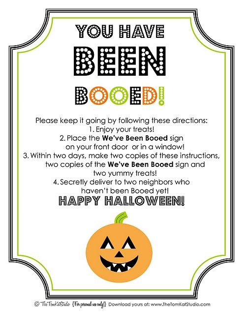 image about You've Been Booed Free Printable called Halloween Totally free Printable BOO Indicator Directions
