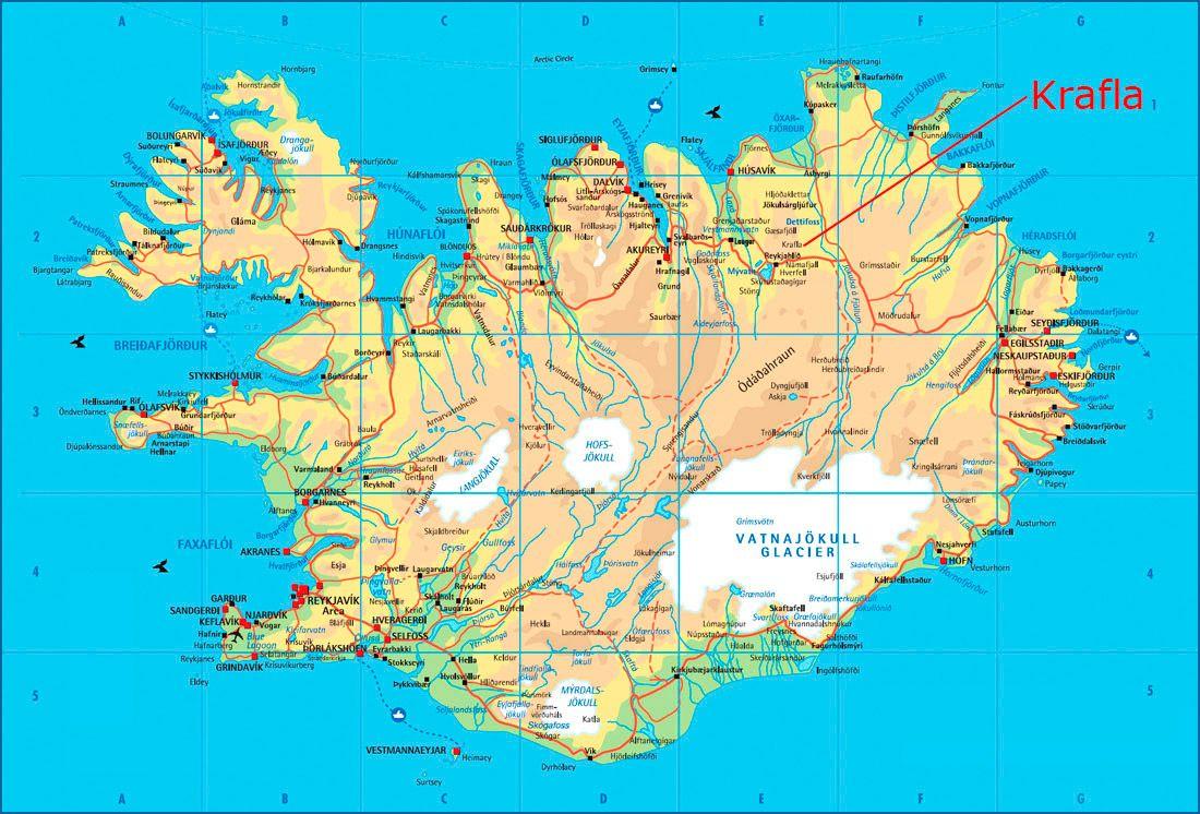 Ingolfshofdi Iceland Kaart Van De Krafla Vulkaan Op Ijsland