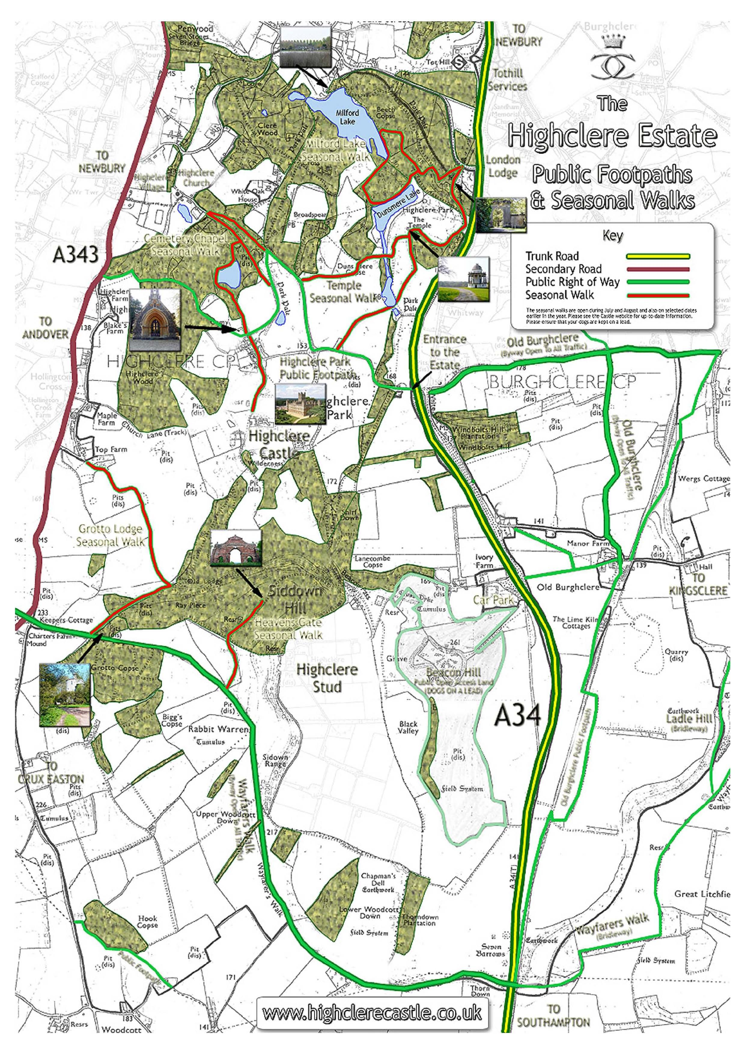 Highclere Castle Map Highclere Castle Estate Map. Hamptonshire, South East England, UK  Highclere Castle Map
