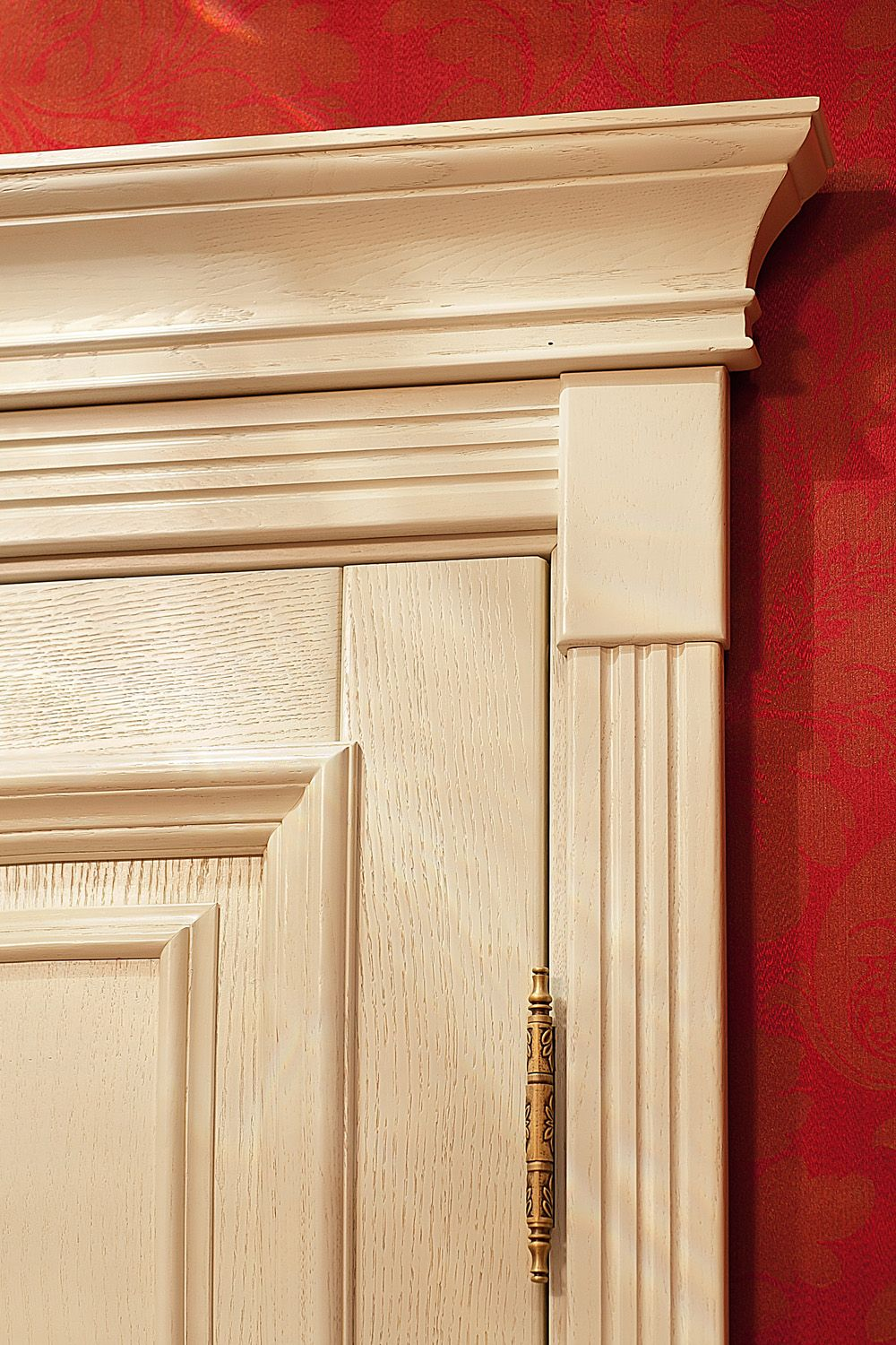 Amazing An Oakwood Door With Decorative Mouldings And A Capital.