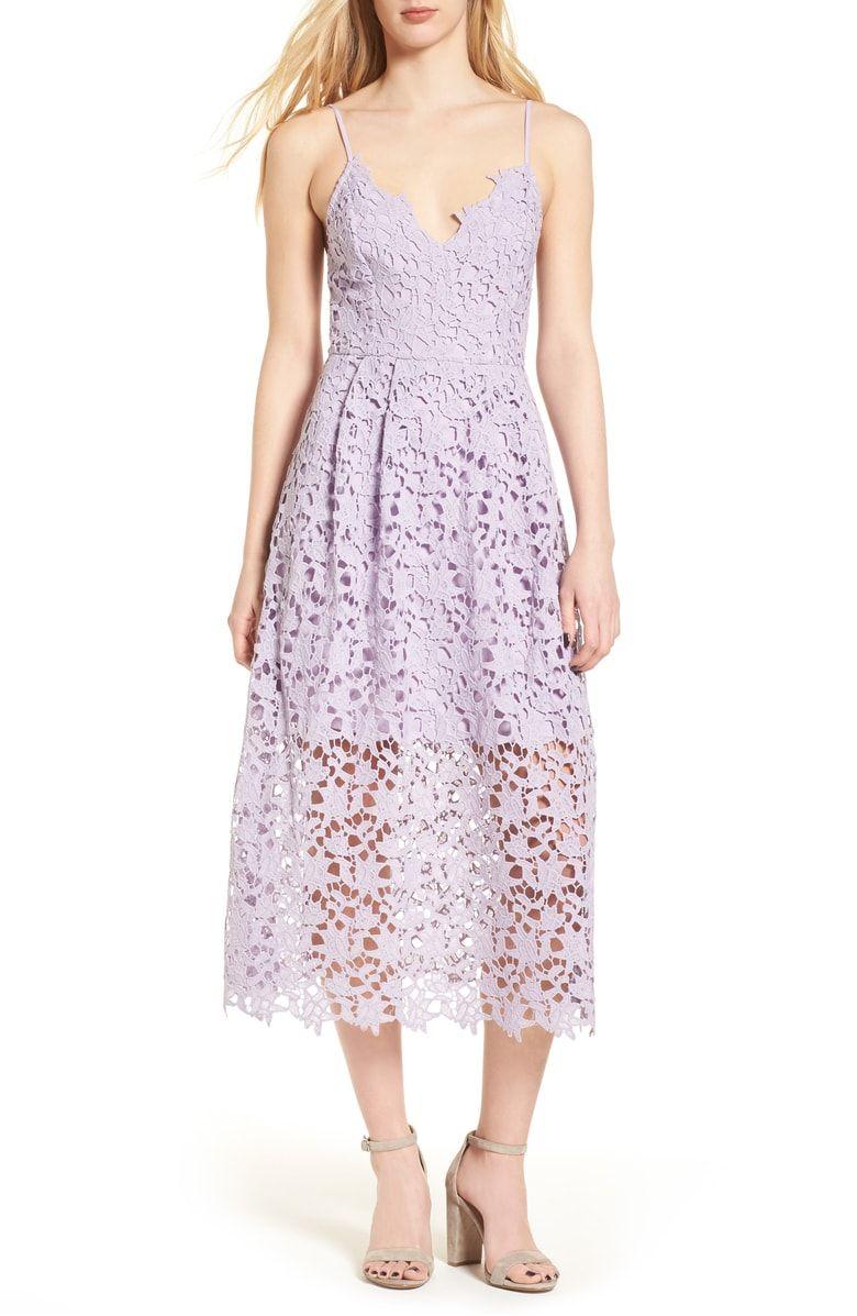 Nordstrom dresses wedding guest  Lace Midi Dress Main color Lilac  Wedding Guest Dresses