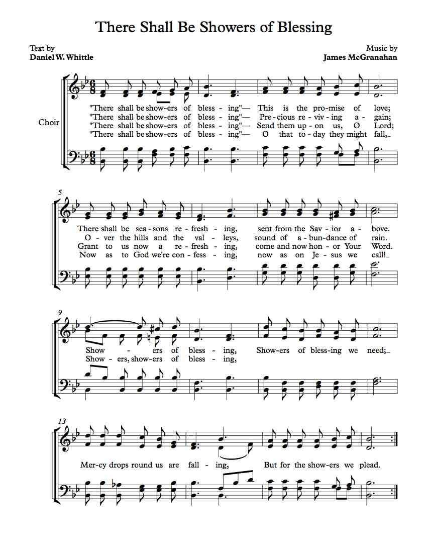 Free Choir Sheet Music There Shall Be Showers Of Blessing Free