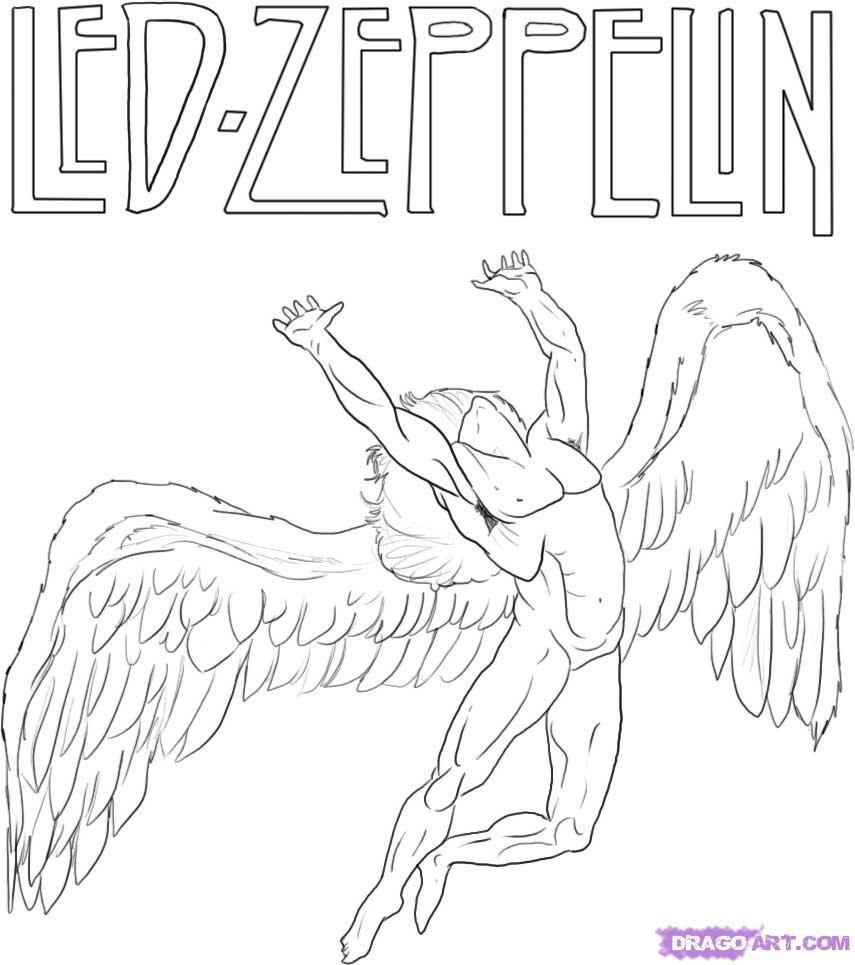 Line Art Logo Tutorial : Led zeppelin icarus drawing tutorial ink and holes