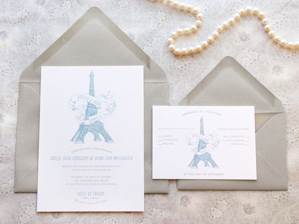 Eiffel Tower Paris Wedding Invitations by merrymint on Etsy | Mint ...