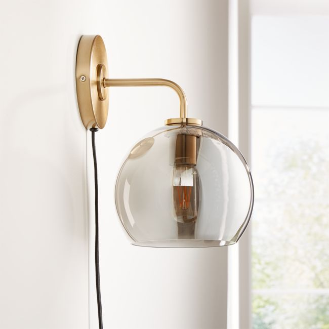 Arren Brass Wall Sconce with Silver Round Shade + Reviews | Crate and Barrel