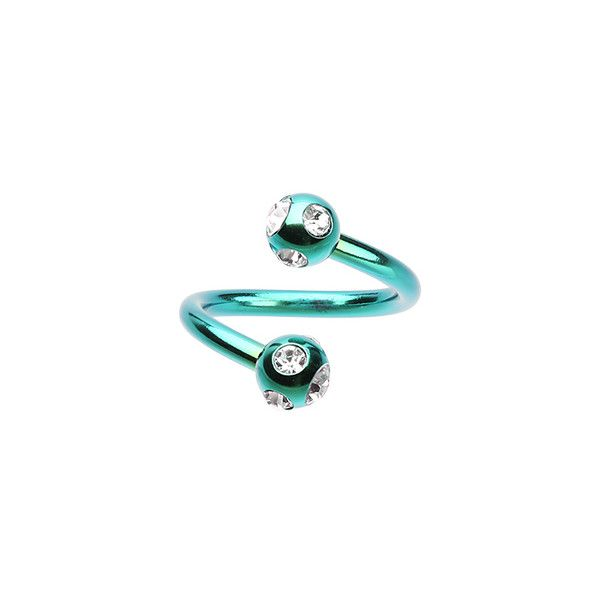 1.6mm 14 GA - Ball Size: 3//16 5mm Colorline PVD Aurora Glass-Gem Ball Curved Barbell Eyebrow Ring - Sold as a Pair