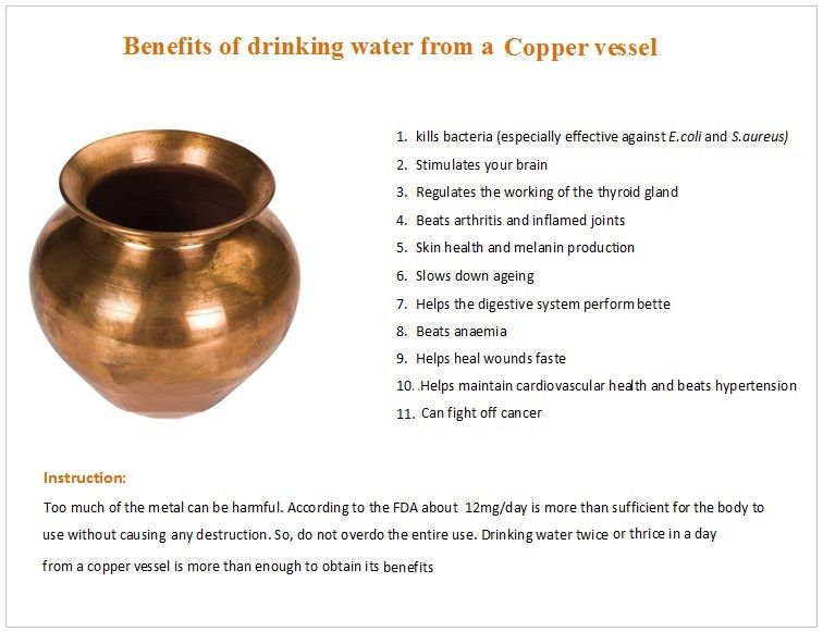 Benefits of drinking water from a Copper vessel Health Benefits