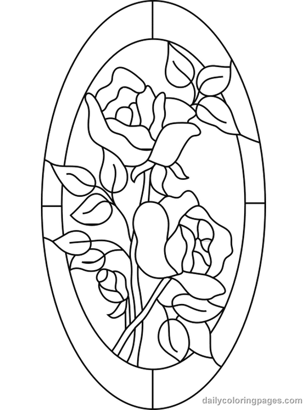 Free Coloring Pages For Adults Stained Glass Flower Coloring Pages