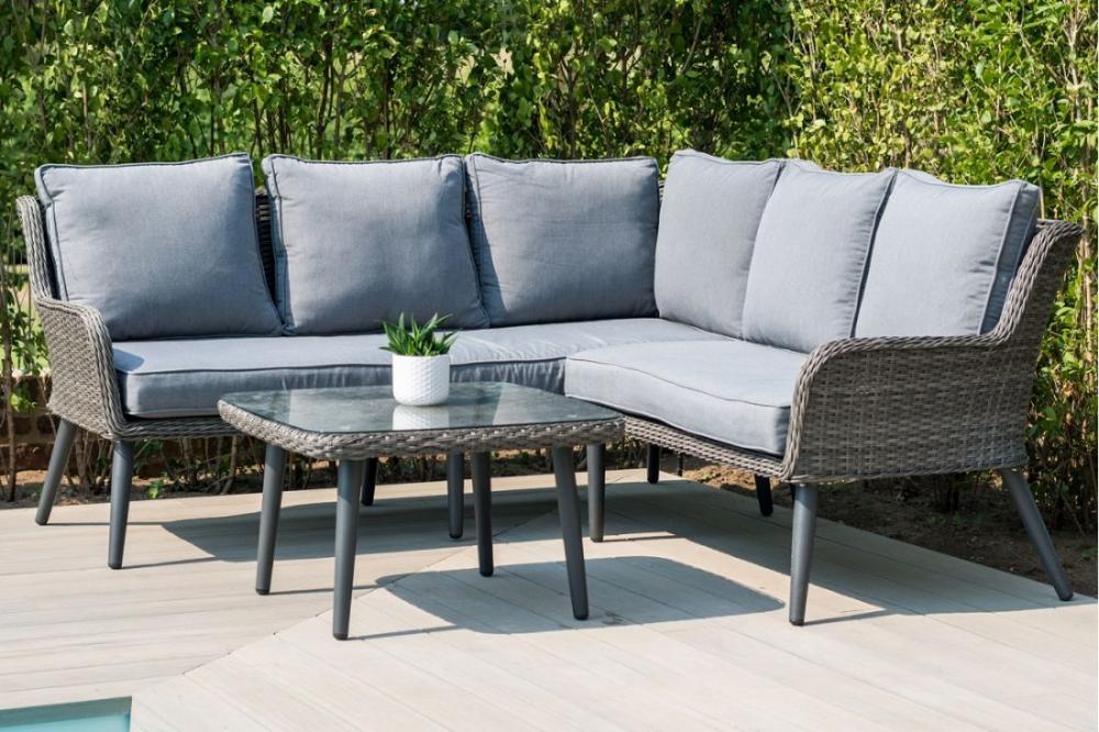 Maze Rattan - Florence Corner Sofa Set - Slate Grey ...