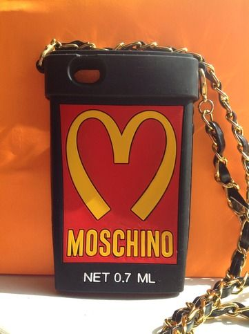 9b991ed84b Fashion MOSCHINO McDonald's Cup Design With Strap Black Soft Silicone  Plastic Case Cover for Apple iPhone 4 4S