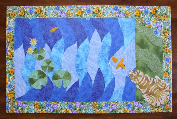 Floorquilt Floorcloth Garden Pond Pictorial by SWFLOORQUILTS, $95.00