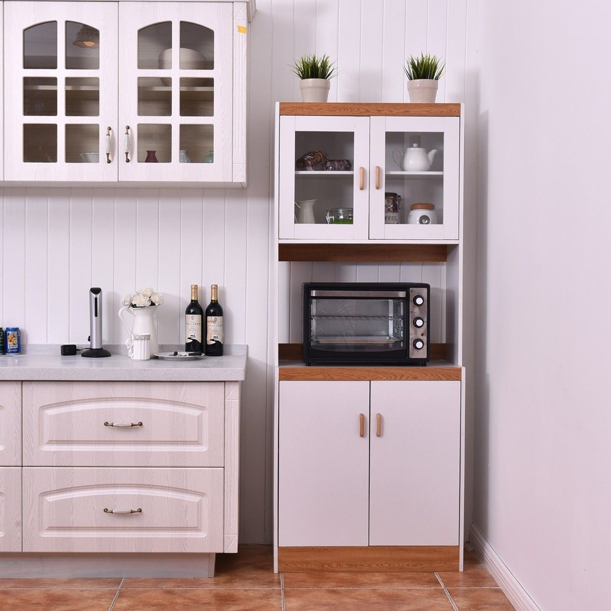 Tall Shelves Microwave Cart Stand Kitchen Storage Cabinet Kitchen Cabinet Storage Microwave In Kitchen Storage Cabinet Shelves