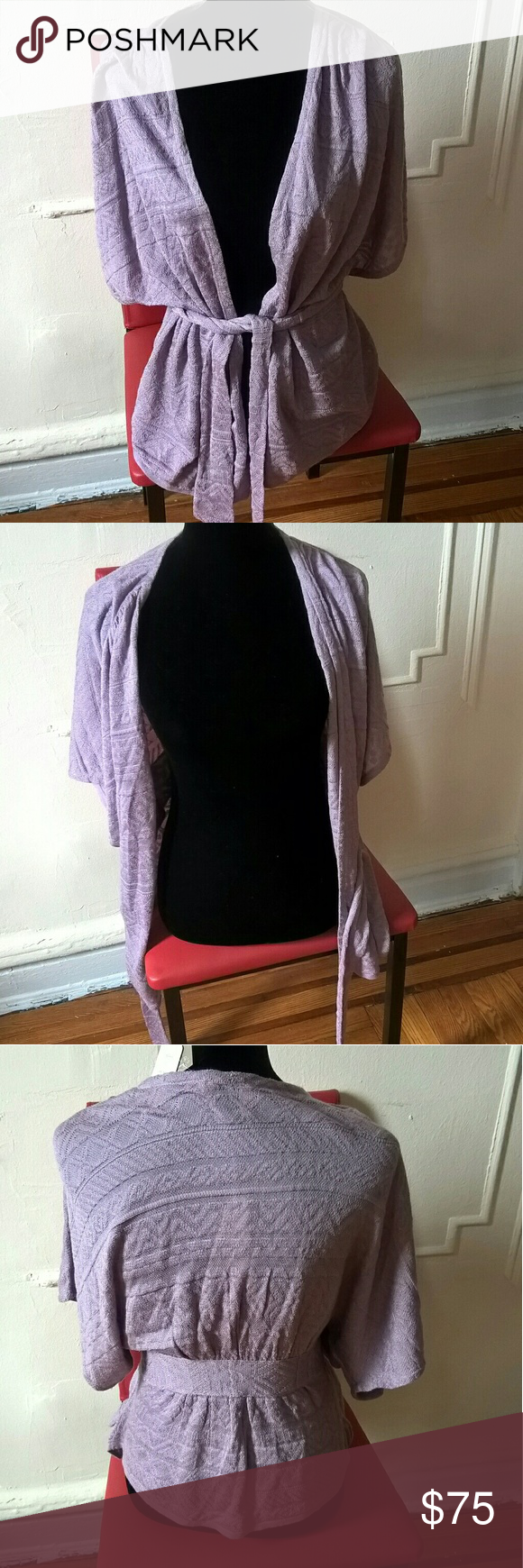 "NWT Anthropologie Purple Kimono Sleeves Sweater M New with tags. Extra thread added Kimono sleeves Light purple lilac color Thin knit Wrap waist with belt Perfect for summer nights  Length: 23"" Bust: 25"" Anthropologie Sweaters"