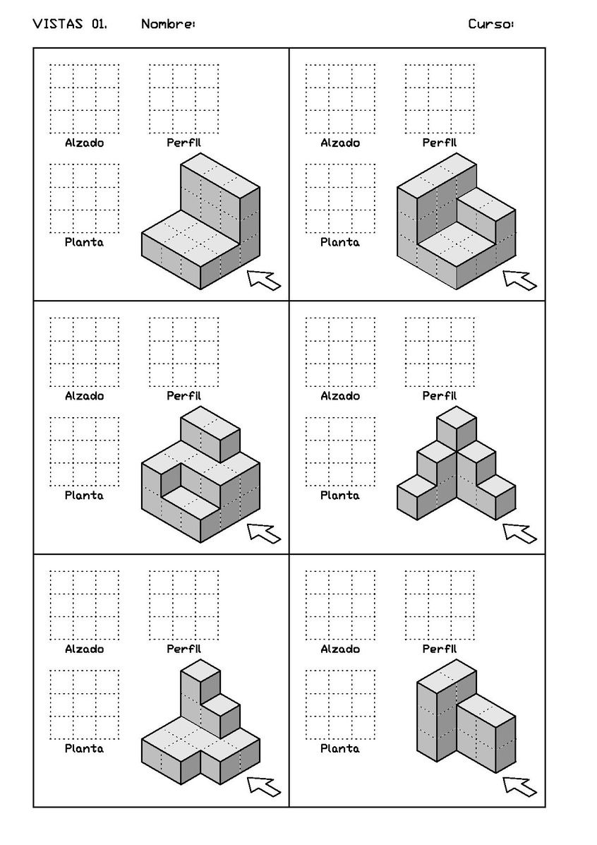 Archivo Vistas Der 01 Pdf Tecnicas De Dibujo Dibujo Tecnico Pdf Ejercicios De Dibujo