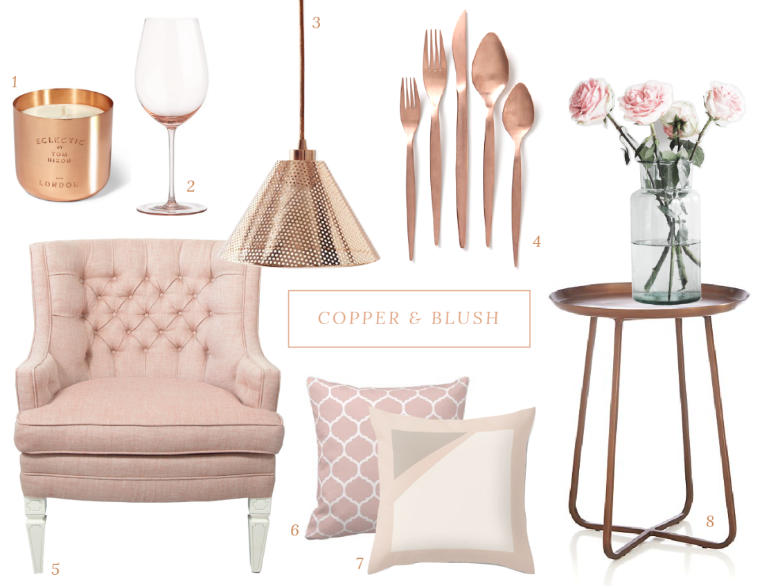 Copper And Blush Accents Copper Living Room Bedroom Decor Room Decor
