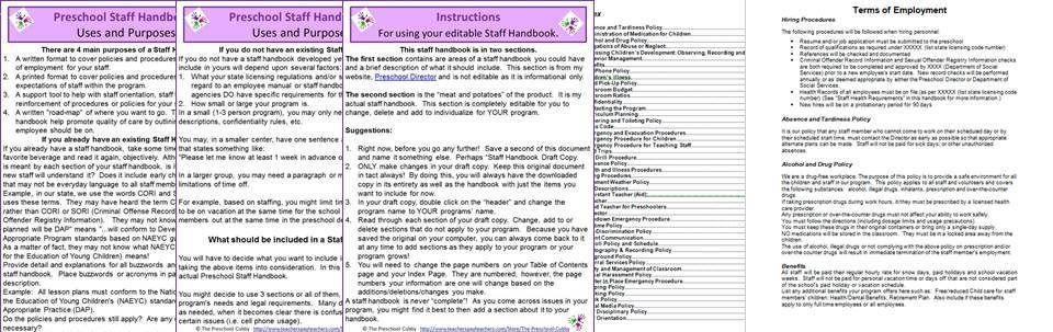 staff handbook for preschool home preschool documents pinterest rh pinterest com Federal Personnel Manual Chapter 930 City Personnel Manual