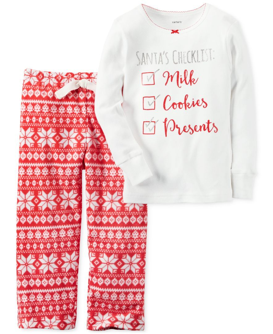 5fa33af57e Carter s 2-Pc. Santa s Checklist Pajama Set