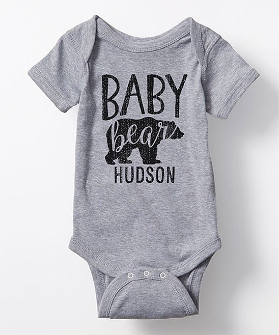 1e63575f6d1 Heather Gray  Baby Bear  Personalized Bodysuit - Infant