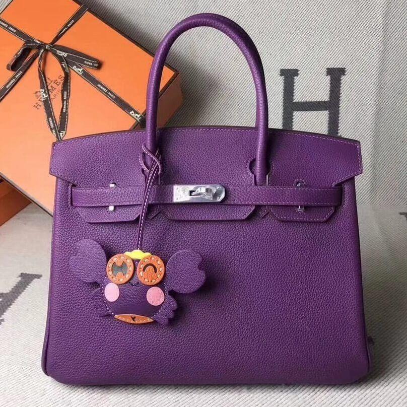 904ae6afb00e Hermes Original Togo Leather Birkin 25 30 35 Handbag Purple (Silver-tone  Hardware)