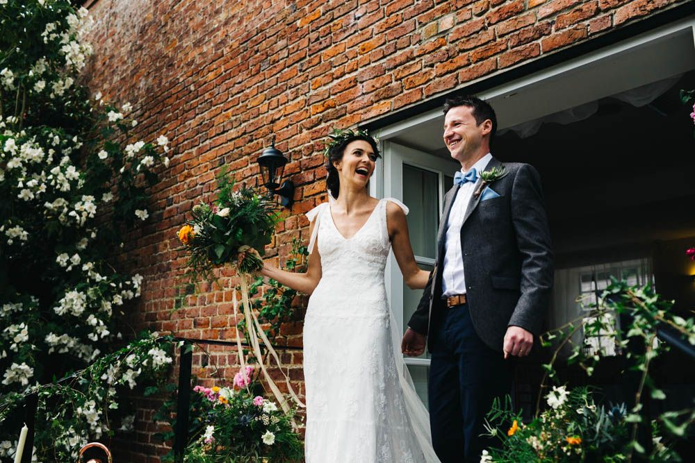 Bride Groom Jesús Peiró Bridal Gown Outdoor Wedding Ballyscullion Park Northern Ireland